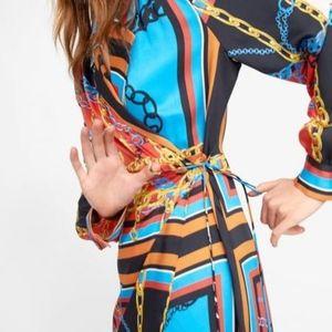 ZARA | NWT PRINT CHAIN WRAP DRESS